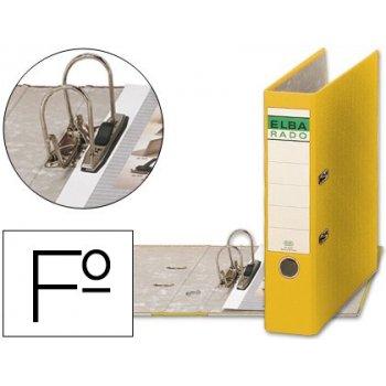 Archivador de palanca elba carton forrado folio amarillo -lomo de 80 mm -rado chic