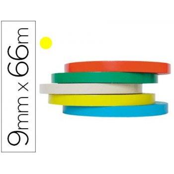 Cinta adhesiva tesa film 66 mt x 9 mm amarilla -para cerrar bolsas