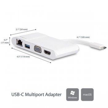 StarTech.com Adaptador Multipuertos USB-C para Ordenadores Portátiles - HDMI o VGA 4K - USB 3.0 - Blanco y Plateado