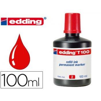 Tinta rotulador edding t-100 rojo -frasco de 100 ml