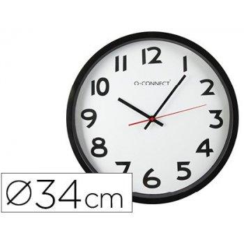 Reloj q-connect de pared plastico bs-oficina redondo 34 cm -marco negro