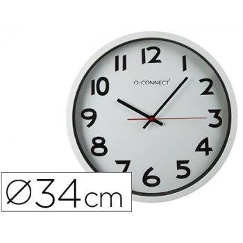 Reloj q-connect de pared plastico oficina redondo 34 cm marco blanco
