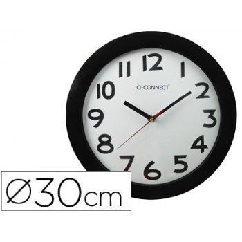 Reloj q-connect de pared plastico oficina redondo 30 cm marco negro