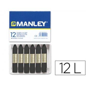 Lapices cera manley unicolor negro -caja de 12 n.30