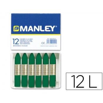 Lapices cera manley unicolor verde esmeralda -caja de 12 n.24
