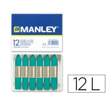 Lapices cera manley unicolor verde azulado -caja de 12 n.23
