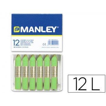 Lapices cera manley unicolor verde amarillento -caja de 12 n.22