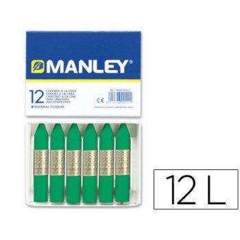 Lapices cera manley unicolor verde natural -caja de 12 n.21