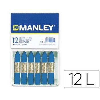 Lapices cera manley unicolor azul prusia -caja de 12 n.19