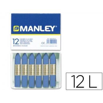 Lapices cera manley unicolor azul ultramar -caja de 12 n.18