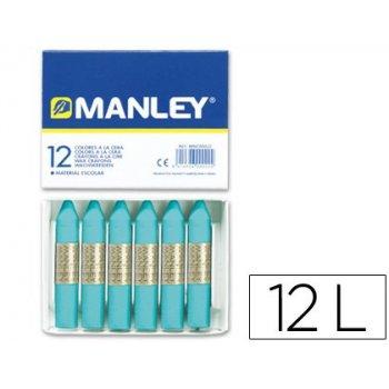 Lapices cera manley unicolor azul turquesa -caja de 12 n.16