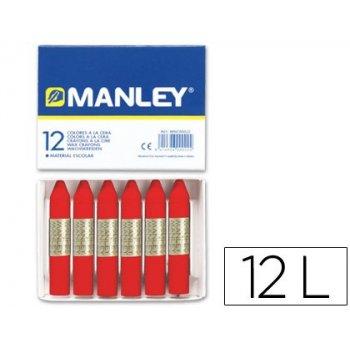 Lapices cera manley unicolor rojo escarlata -caja de 12 n.9