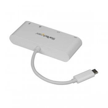 StarTech.com Adaptador Multipuertos USB-C para Portátiles - Docking Station USB Tipo C DVI GbE con Hub Concentrador USB 3.0