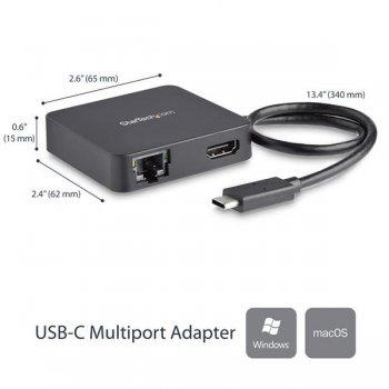 StarTech.com Adaptador Multipuertos USB Tipo C para Ordenador Portátil - Docking Station USB-C con Red HDMI 4K y USB-A