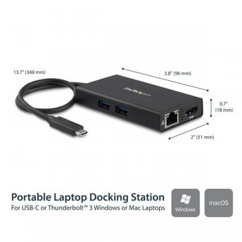 StarTech.com Adaptador Multipuertos USB-C con HDMI de 4K- 2x Puertos USB-A - PD de 60W - Negro