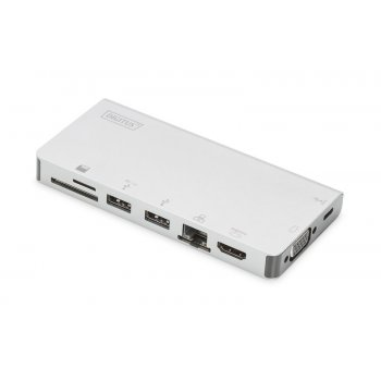 Digitus DA-70866 base para portátil y replicador de puertos Alámbrico USB 3.0 (3.1 Gen 1) Type-C Plata