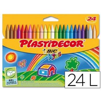 Lapices cera plastidecor caja de 24 colores