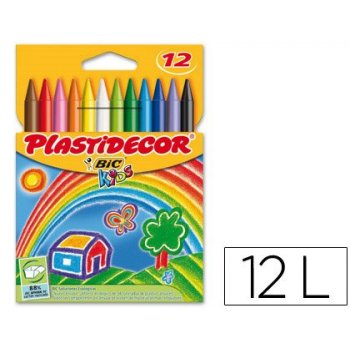 Lapices cera plastidecor caja de 12 colores