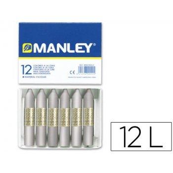 Lapices cera manley unicolor plata -caja de 12 n.75