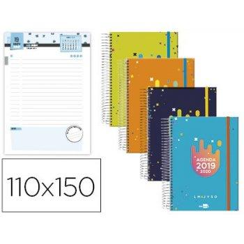 Agenda escolar liderpapel 19-20 college mini bilingue un dia pagina carton forrado espiral cierre con goma