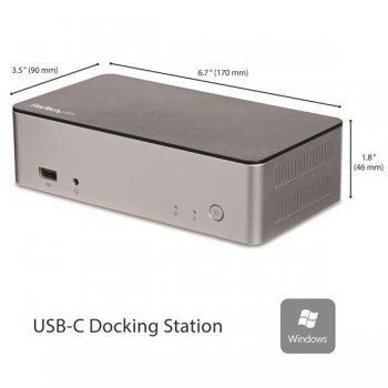 """StarTech.com Dock USB-C de Monitores Duales para Windows con Bahía SATA de 2,5"""" para SSD HDD"""
