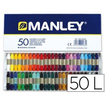 Lapices cera manley -caja de 50 colores ref.150