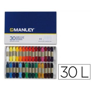 Lapices cera manley -caja de 30 colores