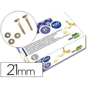 Encuadernadores liderpapel 21 mm con arandela -latonados -caja de 100