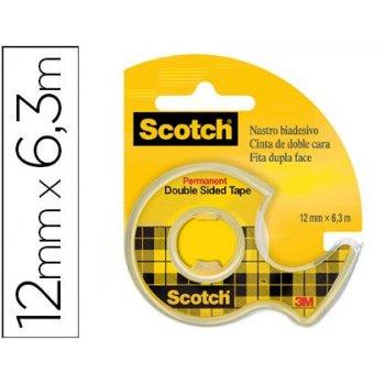 Cinta adhesiva scotch 136-d dos caras 6,3 mt x 12 mm en portarrollo