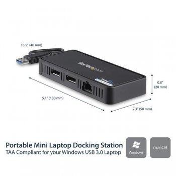 StarTech.com Mini Dock USB a DisplayPort Doble con LAN GbE - 4K Doble de 60Hz