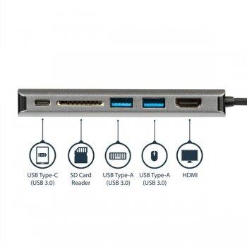 StarTech.com Adaptador Multipuertos con HDMI - Lector SD - 2xA 1xC - PD 3.0