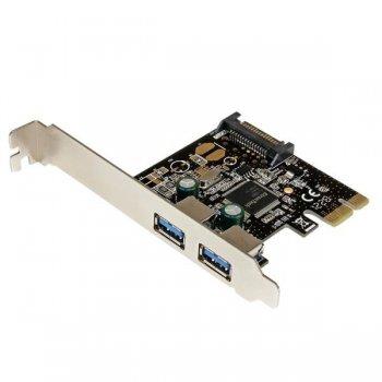 StarTech.com Adaptador Tarjeta Controladora PCI Express PCI-E 2 Puertos USB 3.0 con Alimentación SATA