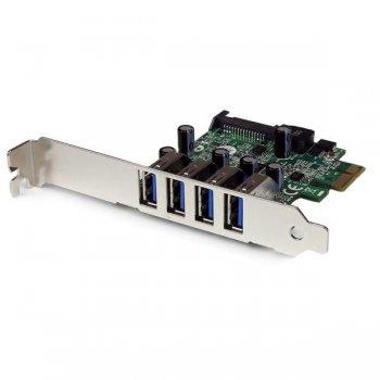 StarTech.com Tarjeta Adaptador PCI Express PCI-E USB 3.0 con UASP de 4 Puertos - Alimentación SATA