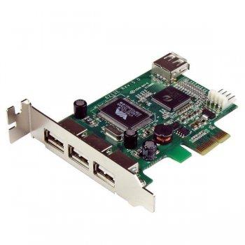 StarTech.com Adaptador Tarjeta PCI Express Perfil Bajo USB 2.0 Alta Velocidad - 3 Externos y 1 Interno