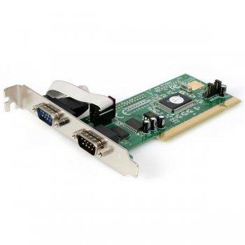 StarTech.com Tarjeta Adaptadora PCI de 2 Puertos Serie RS232 DB9 UART 16550 Serial - 5V