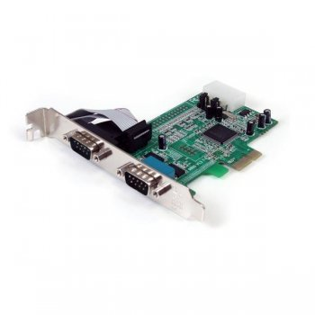 StarTech.com Tarjeta Adaptadora PCI Express PCIe de 2 Puertos Serie RS232 DB9 UART 16550 Serial
