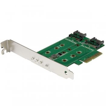 StarTech.com Tarjeta Adaptadora PCI Express 3.0 de 3 Puertos M.2 para SSD - 1x NVMe - 2x SATA III
