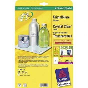 Avery L7784-25 etiqueta de impresora Transparente