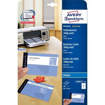 Avery Zweckform C32015-10 tarjeta de visita Inyección de tinta Papel 80 pieza(s)