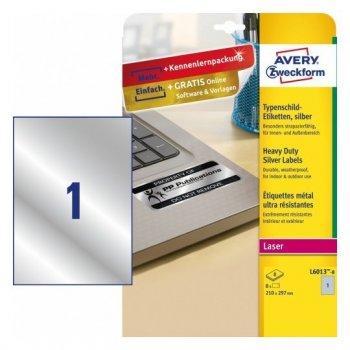 Avery L6013-8 etiqueta de impresora Plata Etiqueta para impresora autoadhesiva
