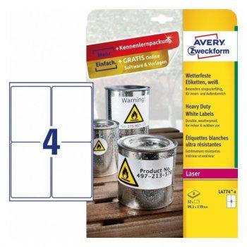 Avery L4774-8 etiqueta de impresora Blanco Etiqueta para impresora autoadhesiva