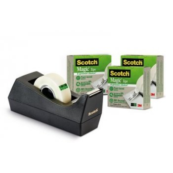 Scotch 9C38R3 cinta adhesiva 33 m Negro, Transparente 3 pieza(s)