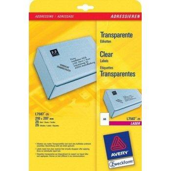 Avery L7567-25 etiqueta de impresora Transparente