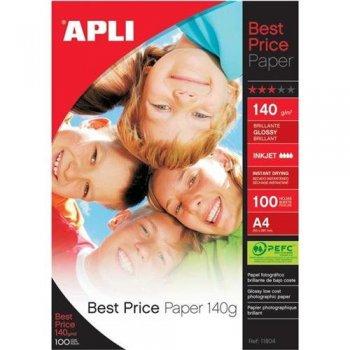 APLI 11804 papel fotográfico Blanco Brillo A4
