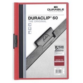 Durable Duraclip 60 archivador Rojo, Transparente PVC