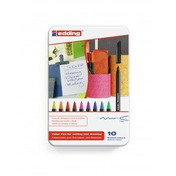 Edding 1200 colourpen rotulador Fino Negro, Azul, Marrón, Verde, Naranja, Rosa, Púrpura, Rojo, Amarillo 10 pieza(s)