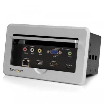 StarTech.com Caja de Conectividad para Mesa de Juntas - Módulo de Conexiones HDMI VGA y Mini DisplayPort