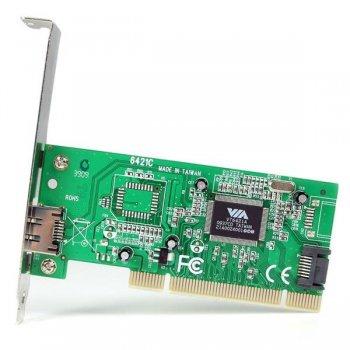 StarTech.com Tarjeta Adaptadora PCI 1 Puerto eSATA 1 Puerto SATA con Bracket de Perfil Bajo Low Profile