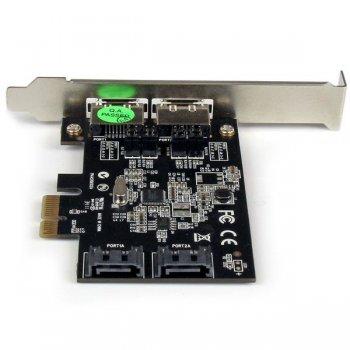 StarTech.com Tarjeta Adaptadora Controladora PCI Express PCIe 2 Puertos eSATA 2 Puertos SATA - SATA III - 6Gbps