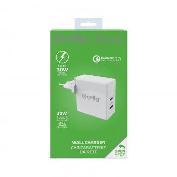 Celly TCUSBC30WWH cargador de dispositivo móvil Interior Blanco